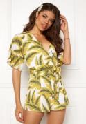 Girl In Mind Cecilla V Neck Playsuit Yellow Palm XS (UK8)