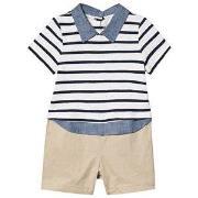 GAP Shirt Romper White/Beige 0-3 Months