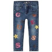 Guess Glitter Logo Baby Jeans Blue 3 years