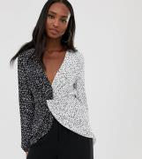 ASOS DESIGN Tall long sleeve twist front top in mixed mono print-Multi
