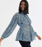 ASOS DESIGN Maternity high neck top with volume sleeve in blue animal ...